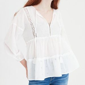 American Eagle | Allover Eyelet Tiered Top